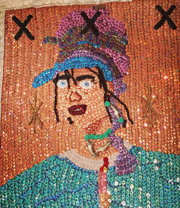 Sequin Flag of Marie Laveau made by Sky Bradshaw that hangs in the New Orleans healing center by her International Shrine.