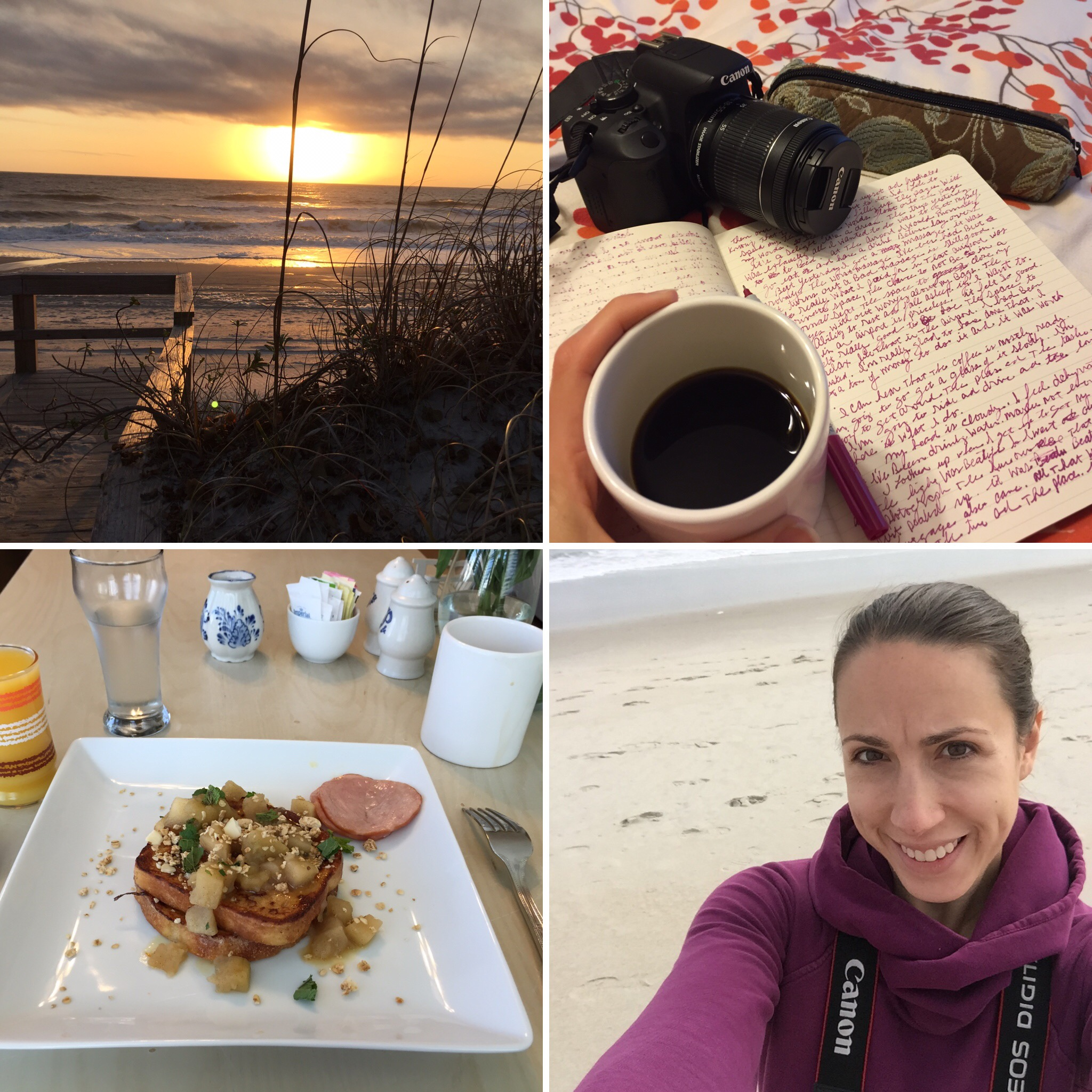 Watched the sunrise in silence every morning. Mike at Beacon House Inn cooked up the most incredible breakfasts! Oodles of writing and walking.