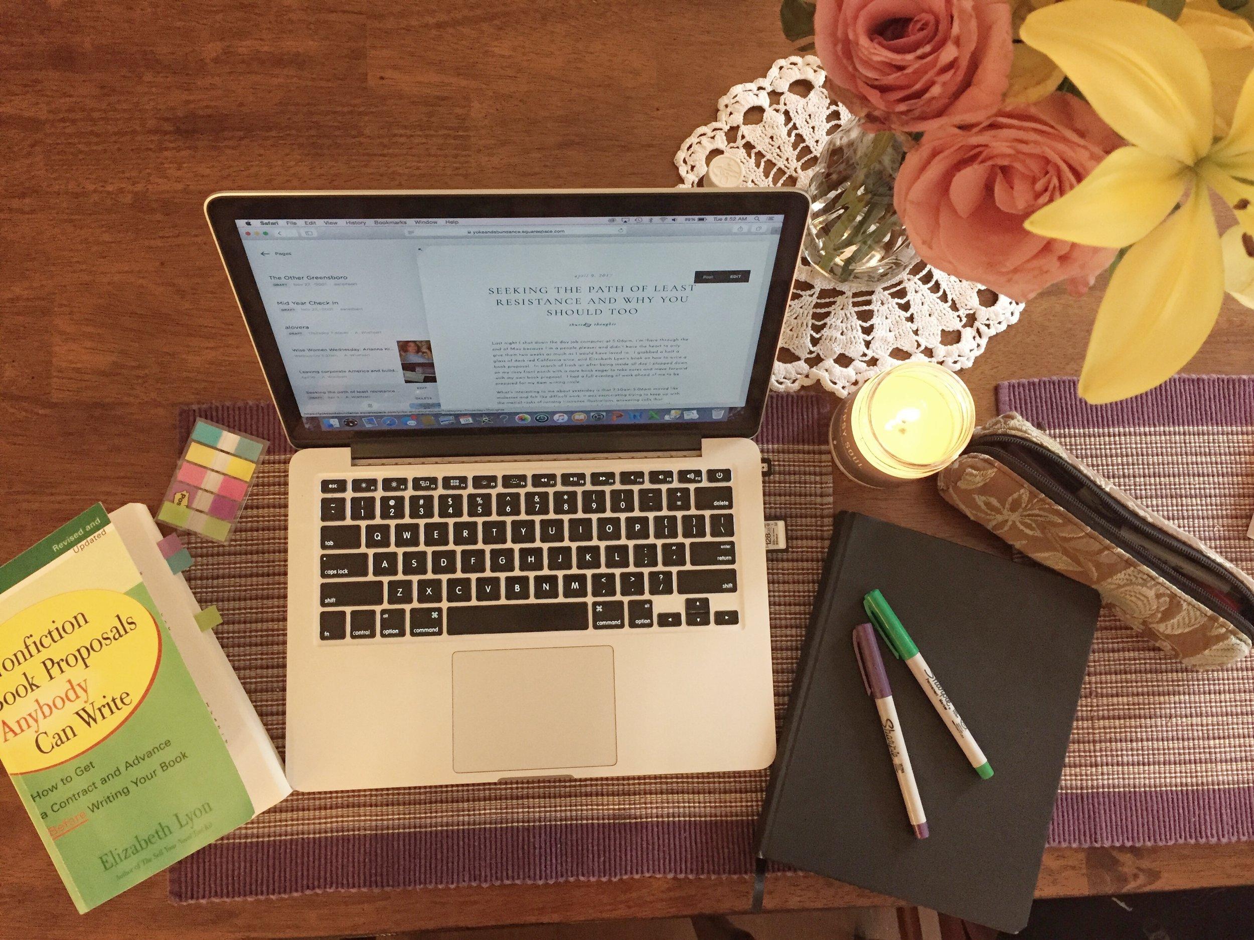View of Alisha's workspace