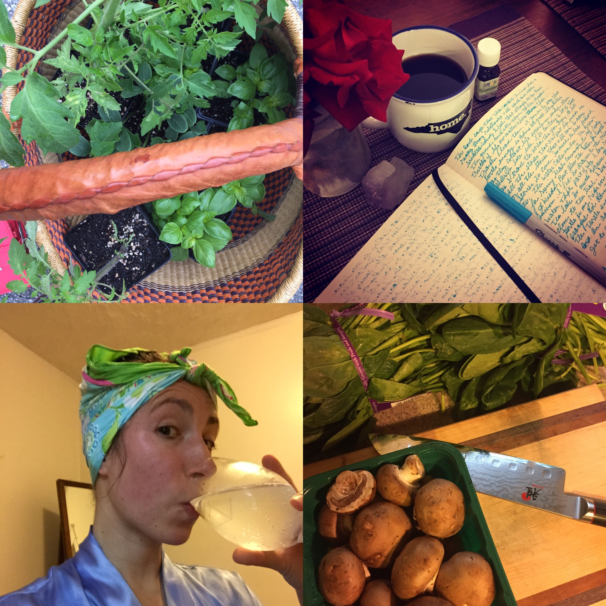 Whole 30 coping tools, sparkling coconut water, trips to the farmers market, writing with coffee and cooking at home.