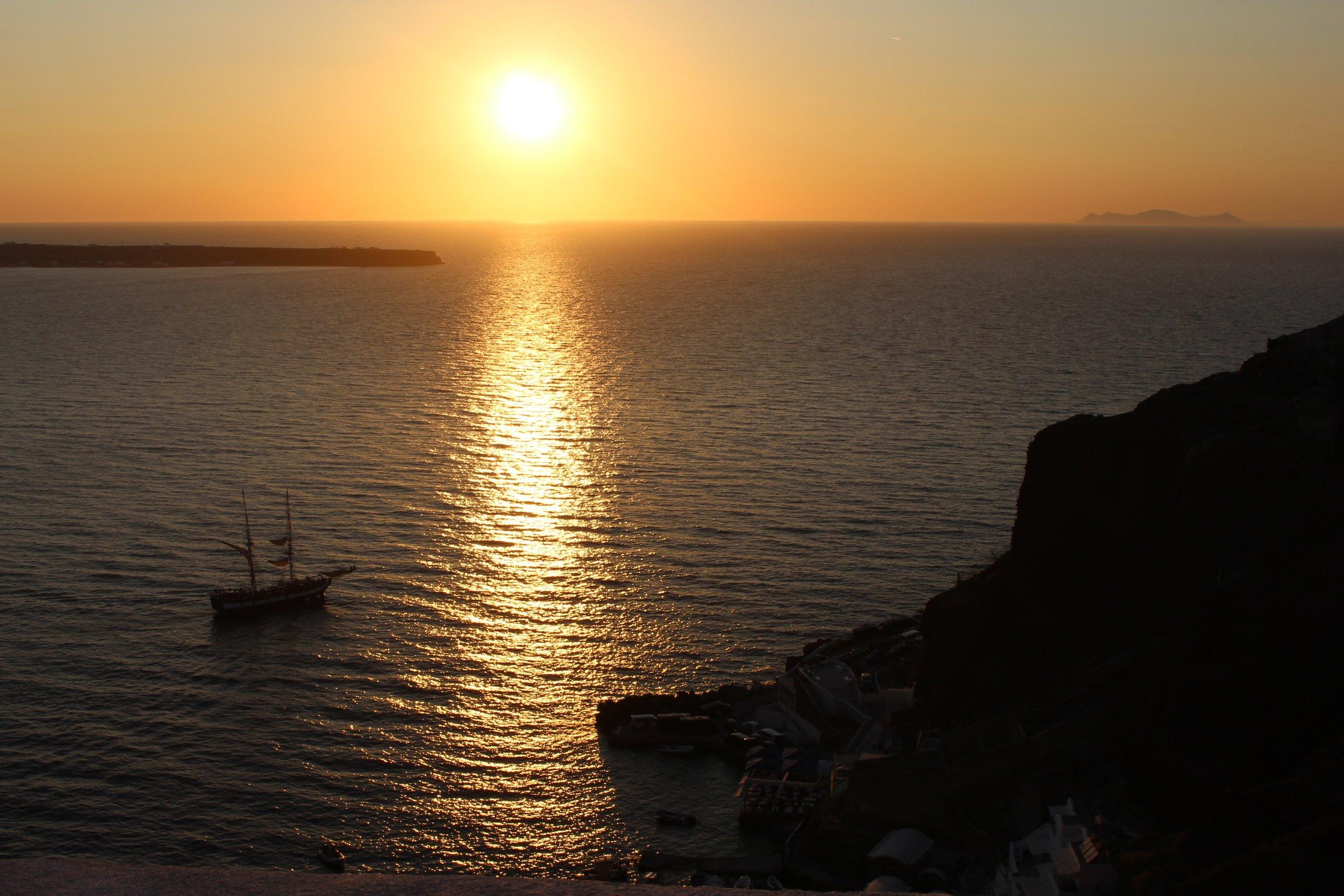 Sunset in Oia Santorini Greece