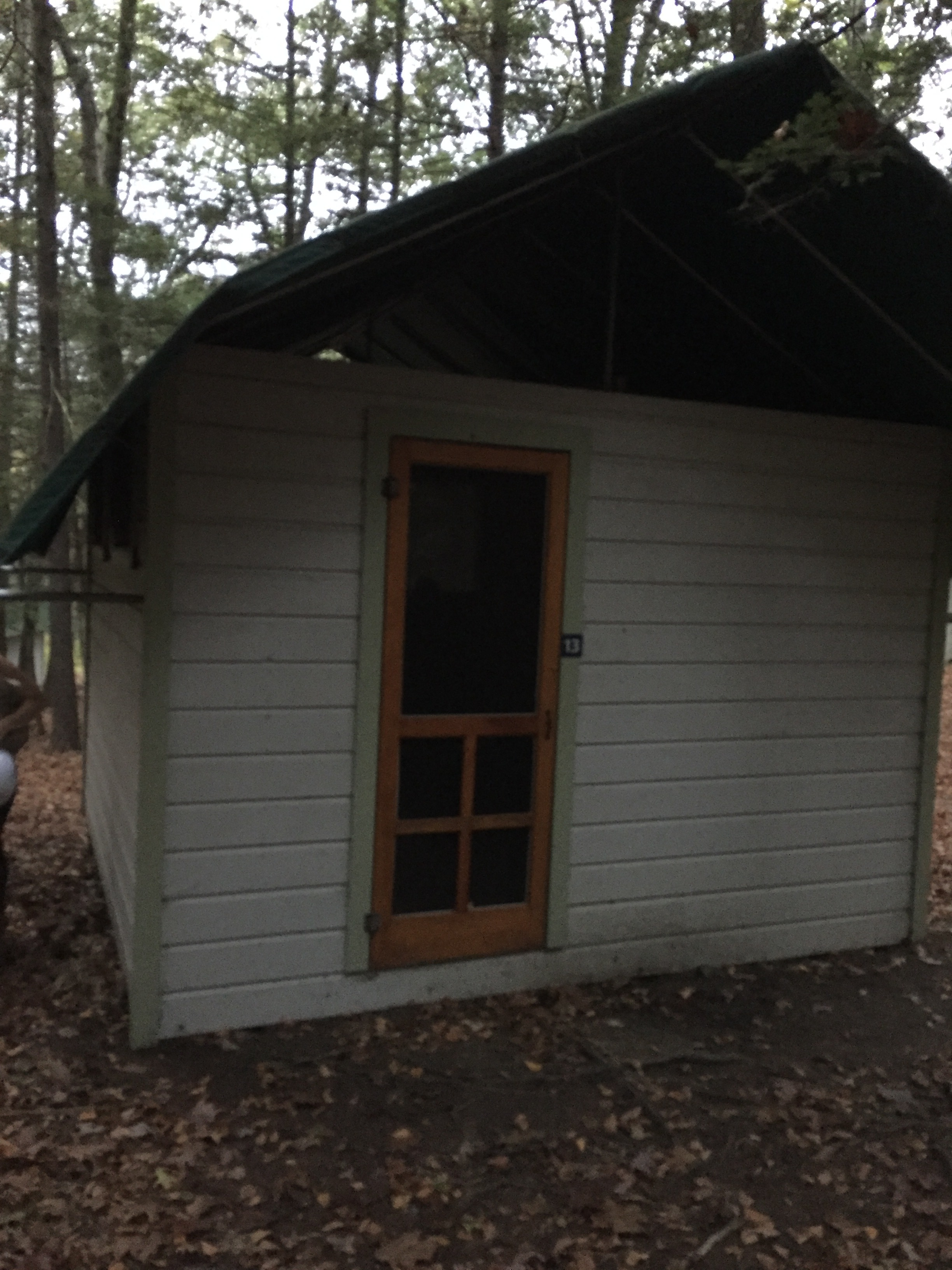 This was our lodging at Omega, open air screen door, no heat, and open air ceiling