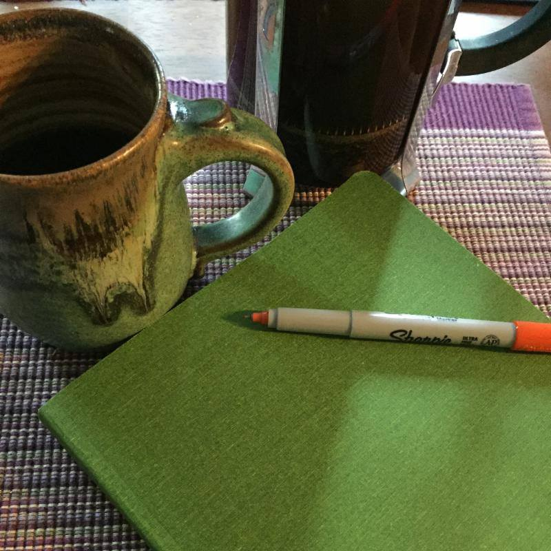 Morning Must Have's: Coffee, notebook, and pen