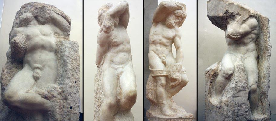 "Michelangelo, ""Awakening Prisoners""  Galleria dell Accademia."