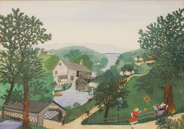 Grandma Moses, The Oaks, 1954