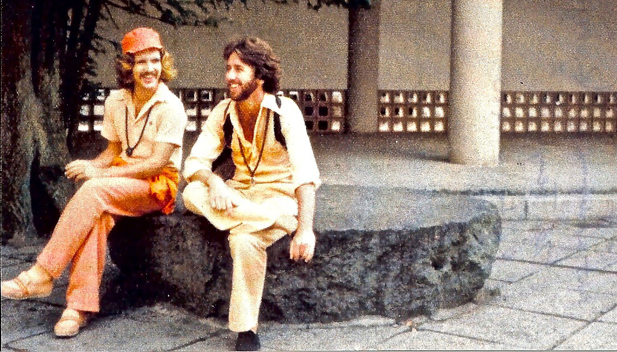 The author with Capt. Kurtski, intrepid pilot and provocateur (as Gorgeous Gloria will attest) - aka Sw. Nityanando – on a stop-over from a Japan-to-Bombay run on assignment to bring laughing buddhas back to Zen. Just another successful mission. Circa 1976.