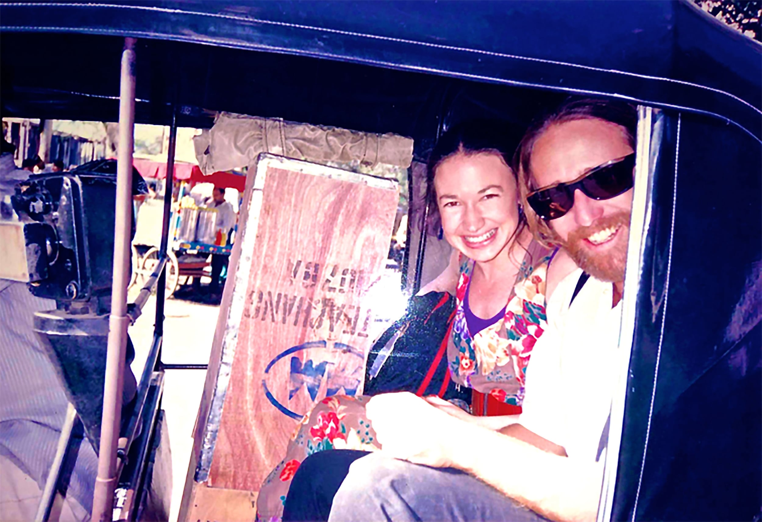 The author (aka Sw. Jivan Joke) and his lovely friend and companion Puja Melissa (aka Ma Bliss Abyss) arriving again at that Gateless Gate, about to embark on more stories for the Cosmic Joke records. Circa Timeless...