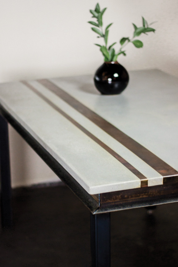 Modern Concrete & Metal Dining Table