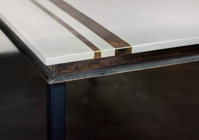 Modern Concrete & Metal Dining Table Detail