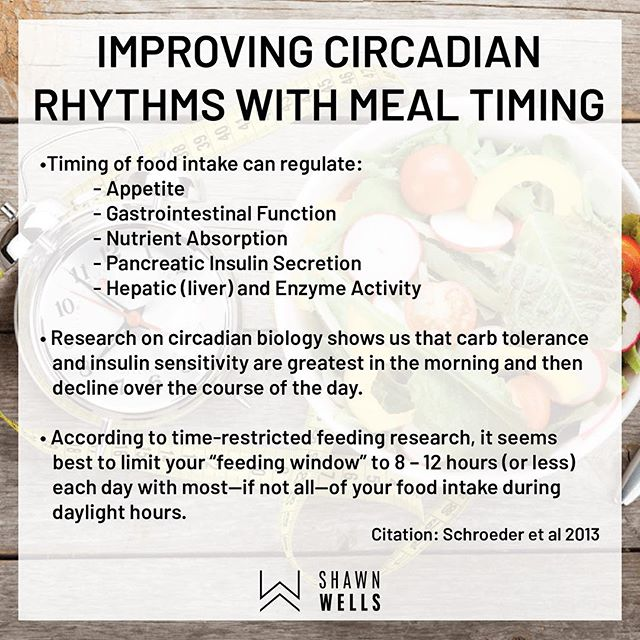 Nutrient timing is an interesting topic whether you're talking about optimizing muscle protein synthesis post workout and even timing the nutrients earlier in the day to maximize sleep. While more research is necessary it appears, there may be some benefit to having a majority of you food especially carbohydrates earlier on in the day.