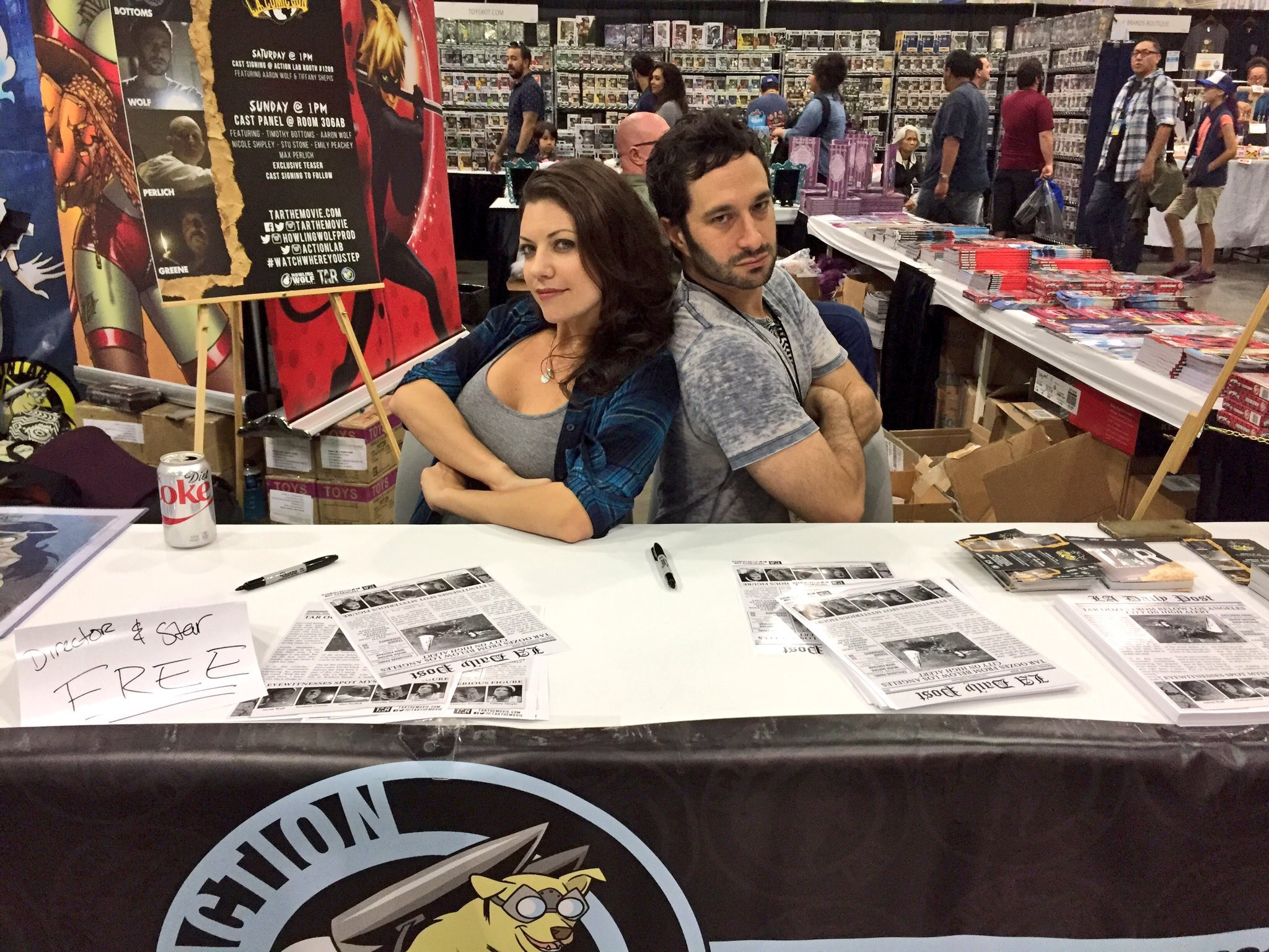 Tiffany Shepis and Aaron Wolf at the TAR/Action Lab LACC booth.