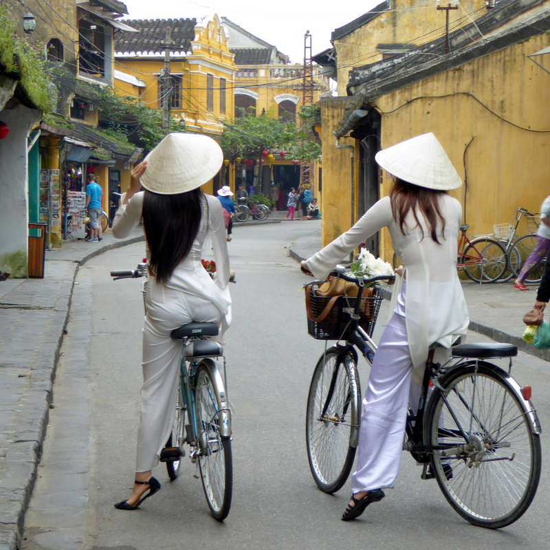 Bicycles are a popular form of transportation throughout Vietnam.