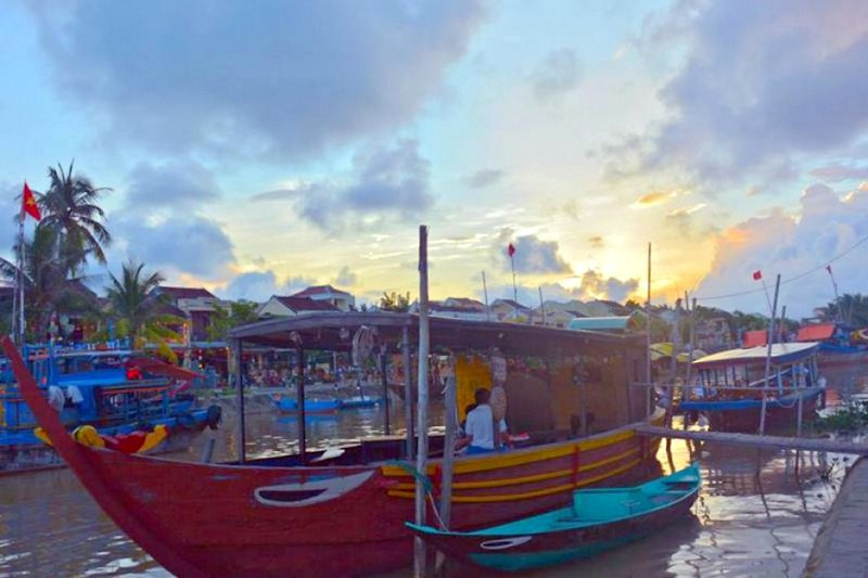 Hoi An sunset at our happy hour gathering place!