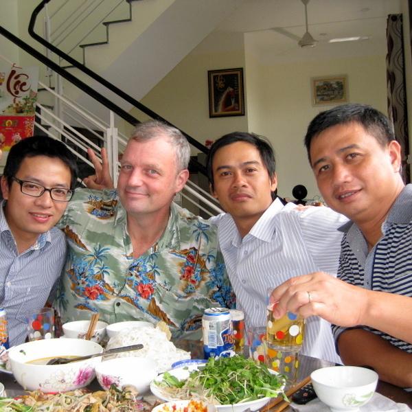 Dan with friends in Vietnam.