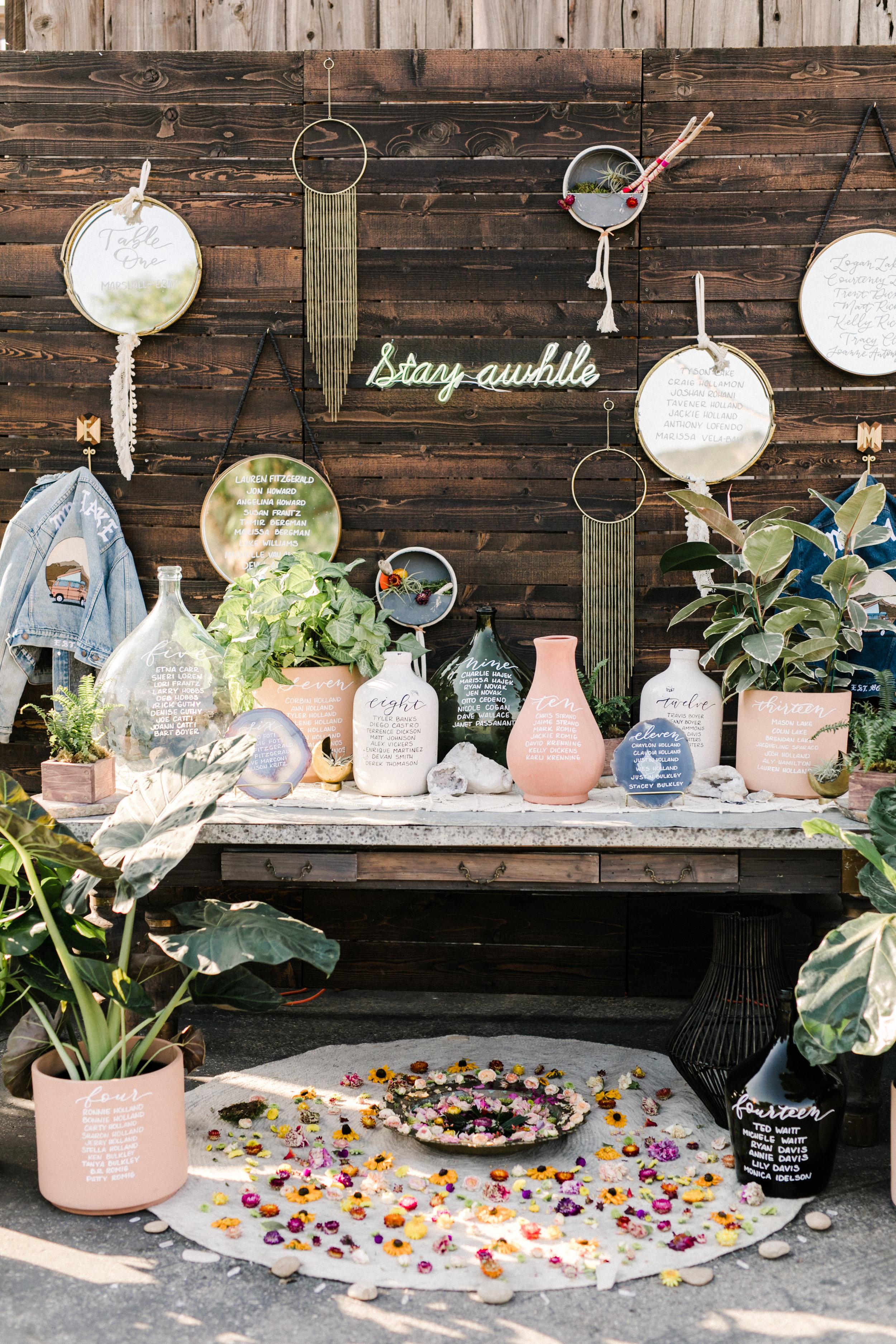 Boho vase wedding seating chart