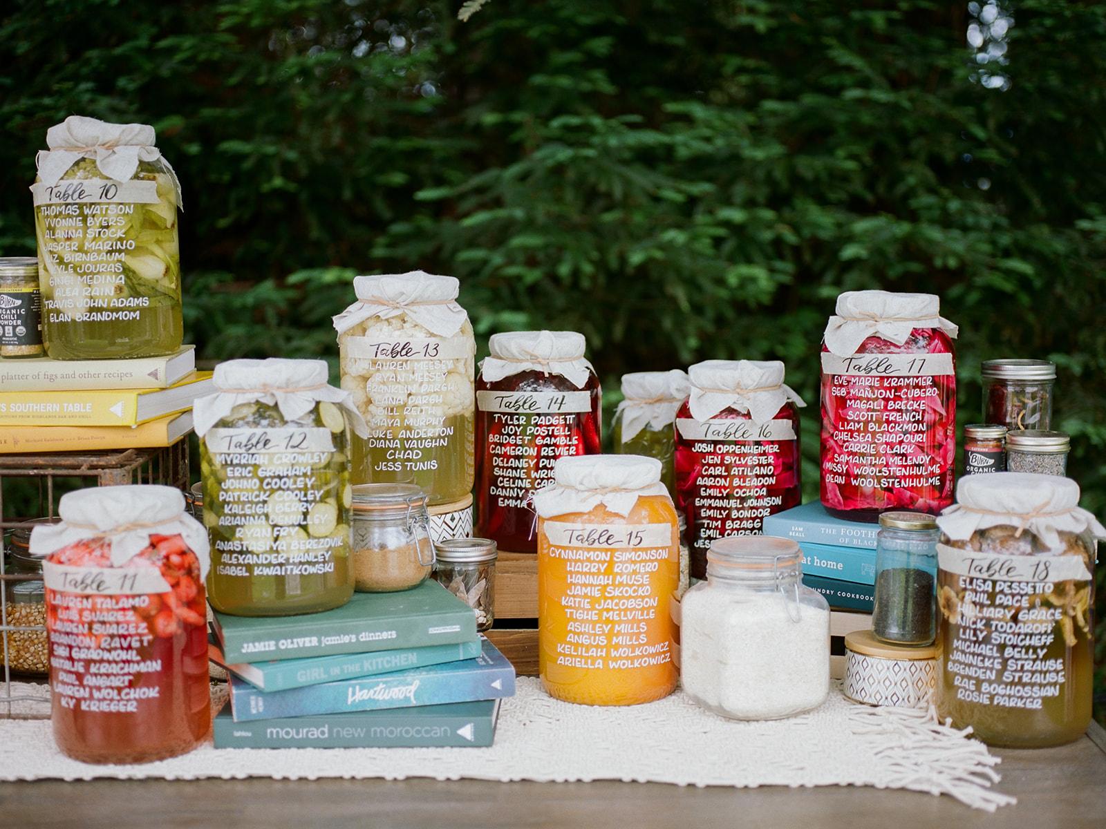 Mason jar wedding seating chart