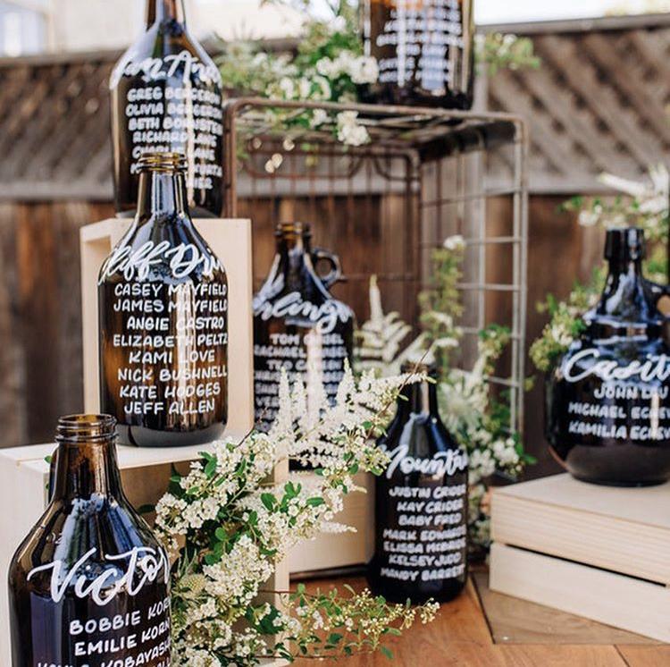 Beer growler wedding seating chart