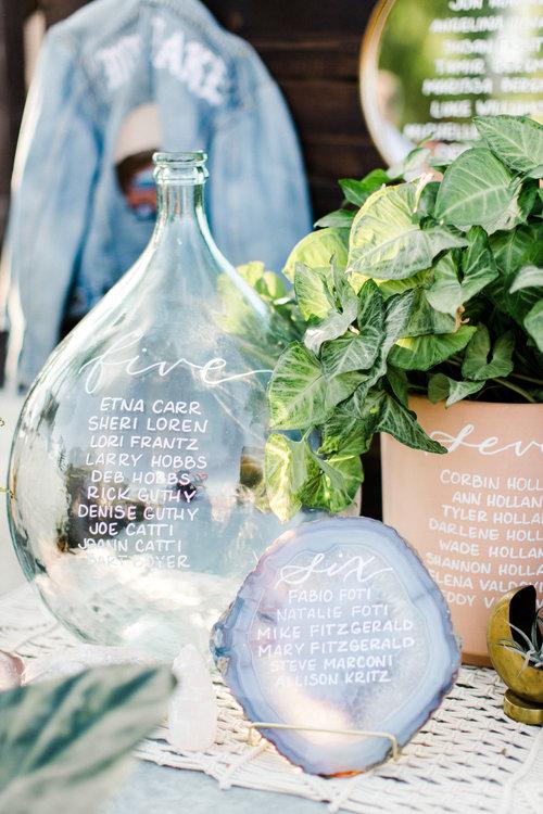 Vase  and bottle wedding seating chart