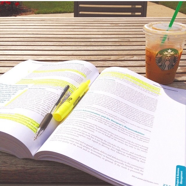 Studying for NCIDQ with coffee