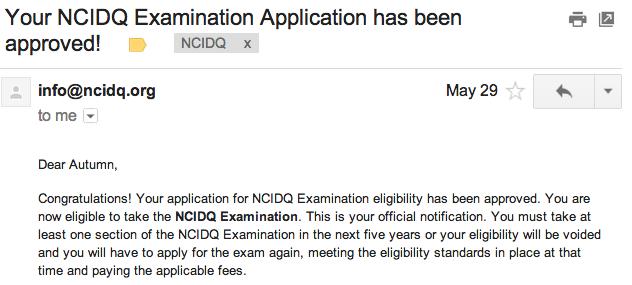 NCIDQ Application Accepted