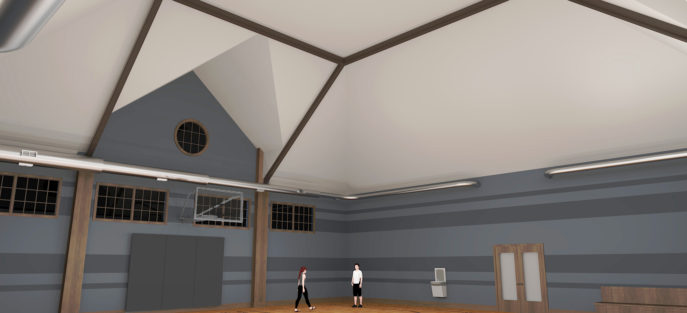 Initial Sketchup Concept Rendering #1 for Basketball Court