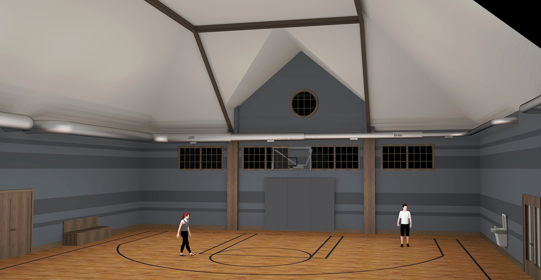 Initial Sketchup Concept Rendering #2 for Basketball Court