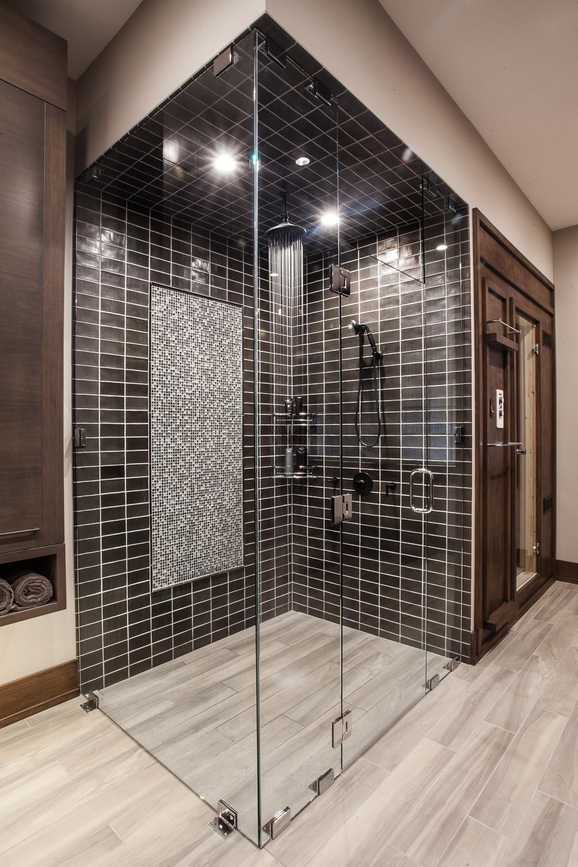 Masculine bathroom glass shower enclosure contemporary - Fuchsia Design