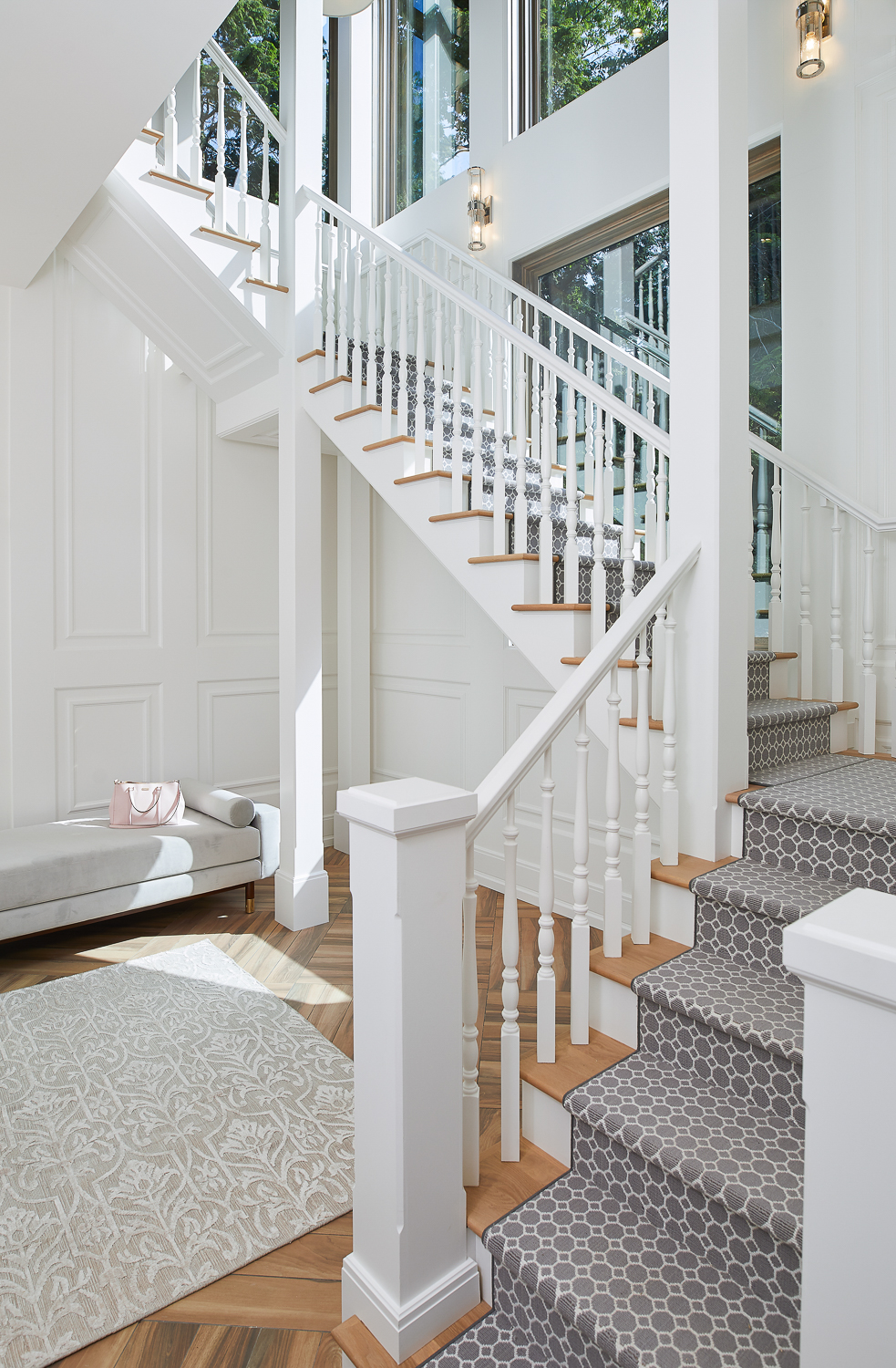Lower level view of the main staircase