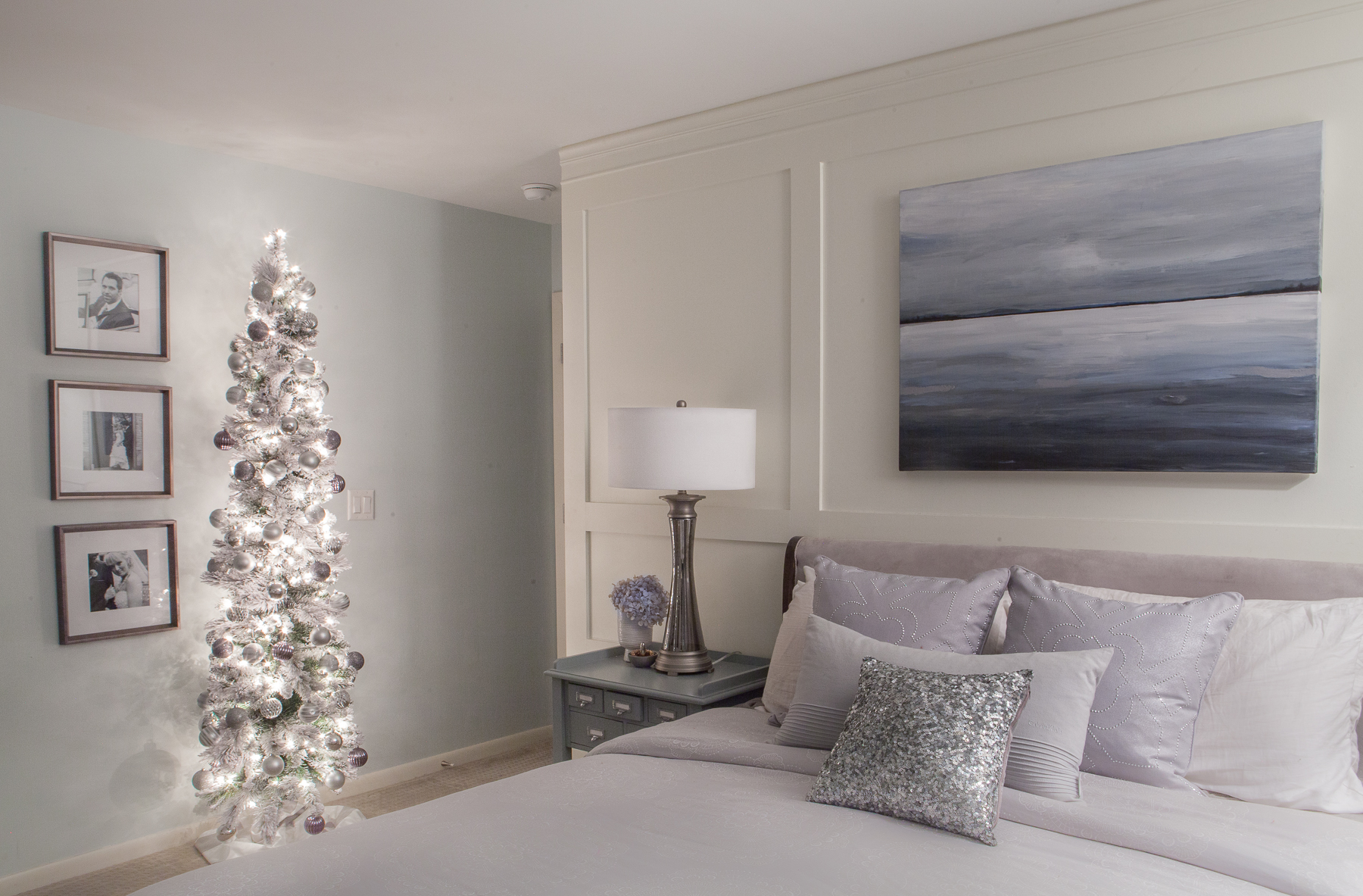 Silver and Blue Christmas Master Bedroom - Fuchsia Design - Grand Rapids, MI