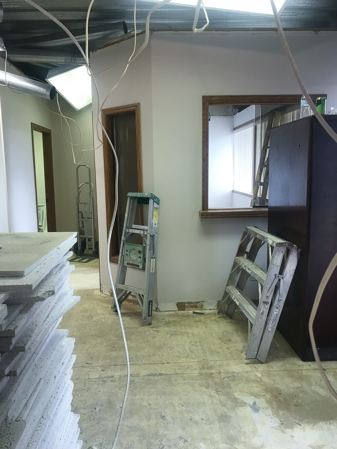 DURING - Drywall was delivered, drop ceiling was removed
