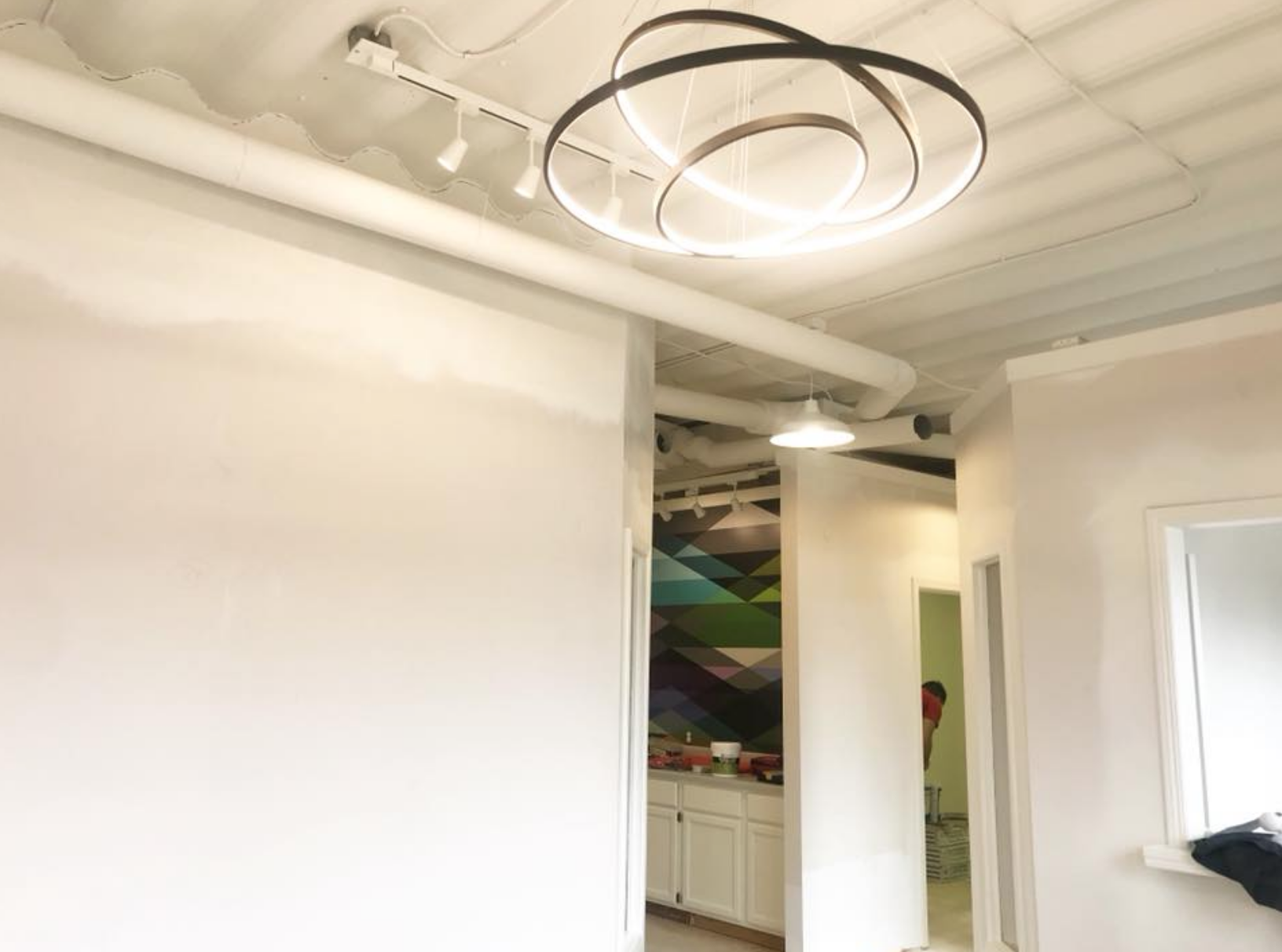 DURING - lighting fixtures and wallcovering installed
