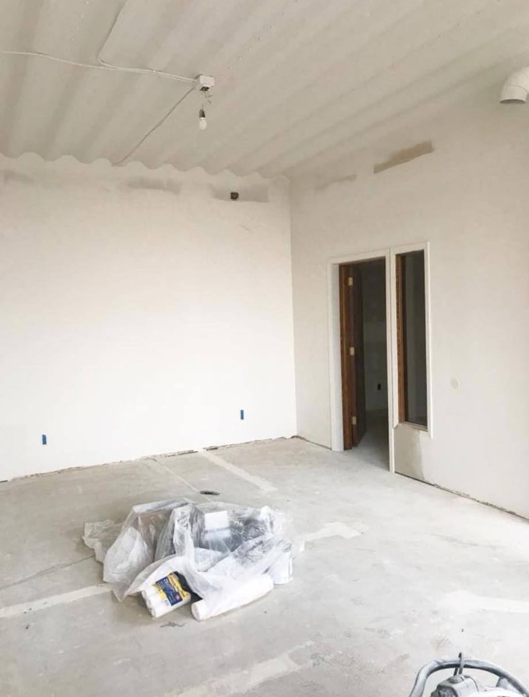 During - fresh coat of white paint on everything