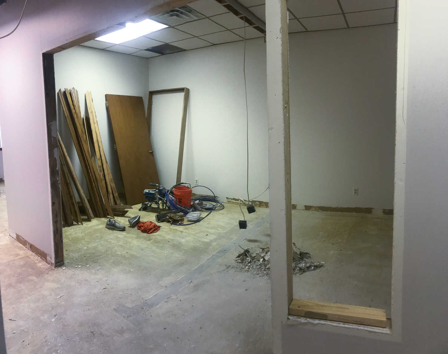During - new wall up to create the new team office spaces