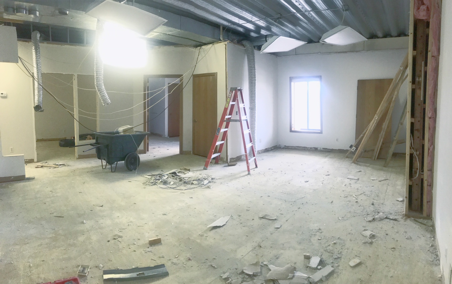 TIMBER! Walls down and drop ceiling out.
