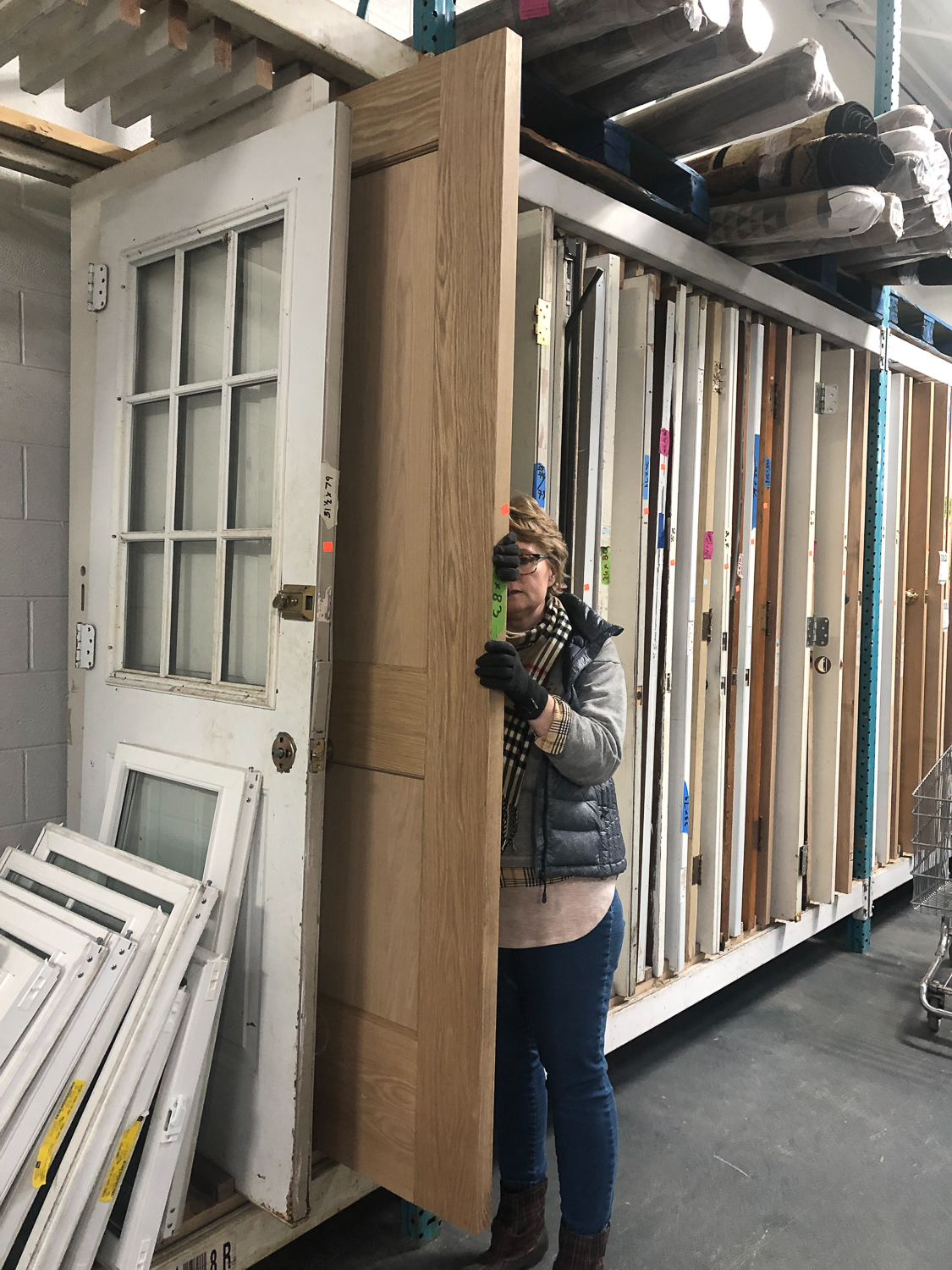 On a Saturday when my husband was hanging the drywall, I decided to take a trip to the local Habitat for Humanity Restore with my mom and see what I could find. This is an amazing organization, and I love to support them when I can. Lucky for me, I found two matching 8' solid oak doors for $25 a piece! These would be around $500 a piece brand new, so this was a huge savings and a rare find!