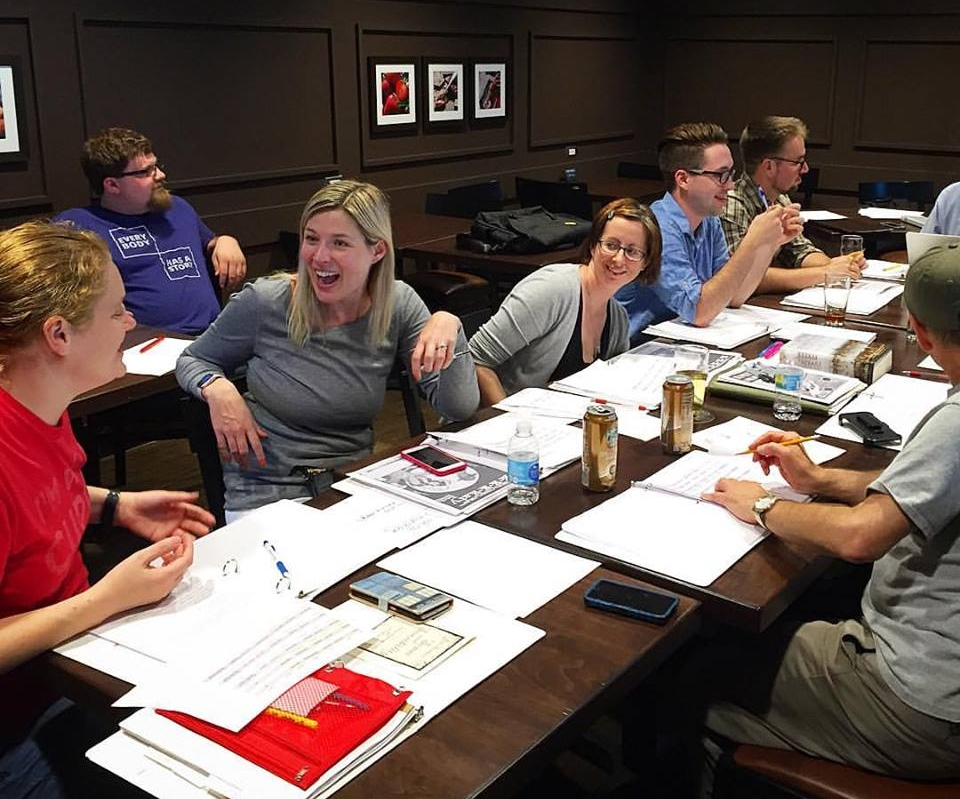 SCript meetings with the cast of the non-producers. Photo: Kevin Bowen