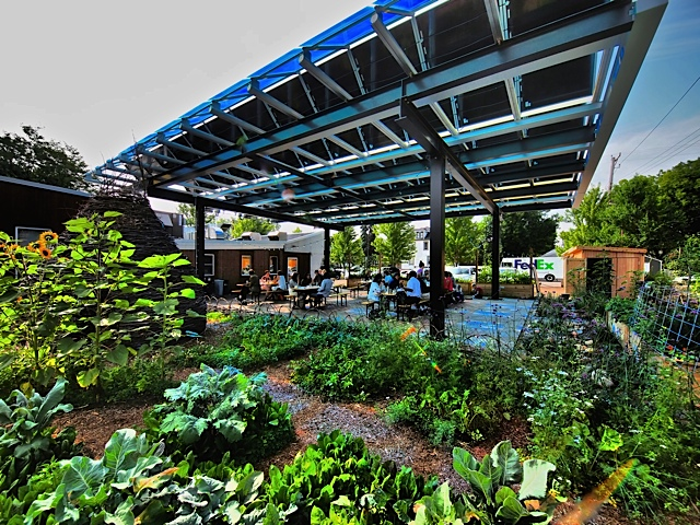 Kim's award-winning tiny diner in south minneapolis features biointensive urban farming methods, edible gardens, rooftop honey bees and annual crops to foster pollinator habitat and soil fertility.