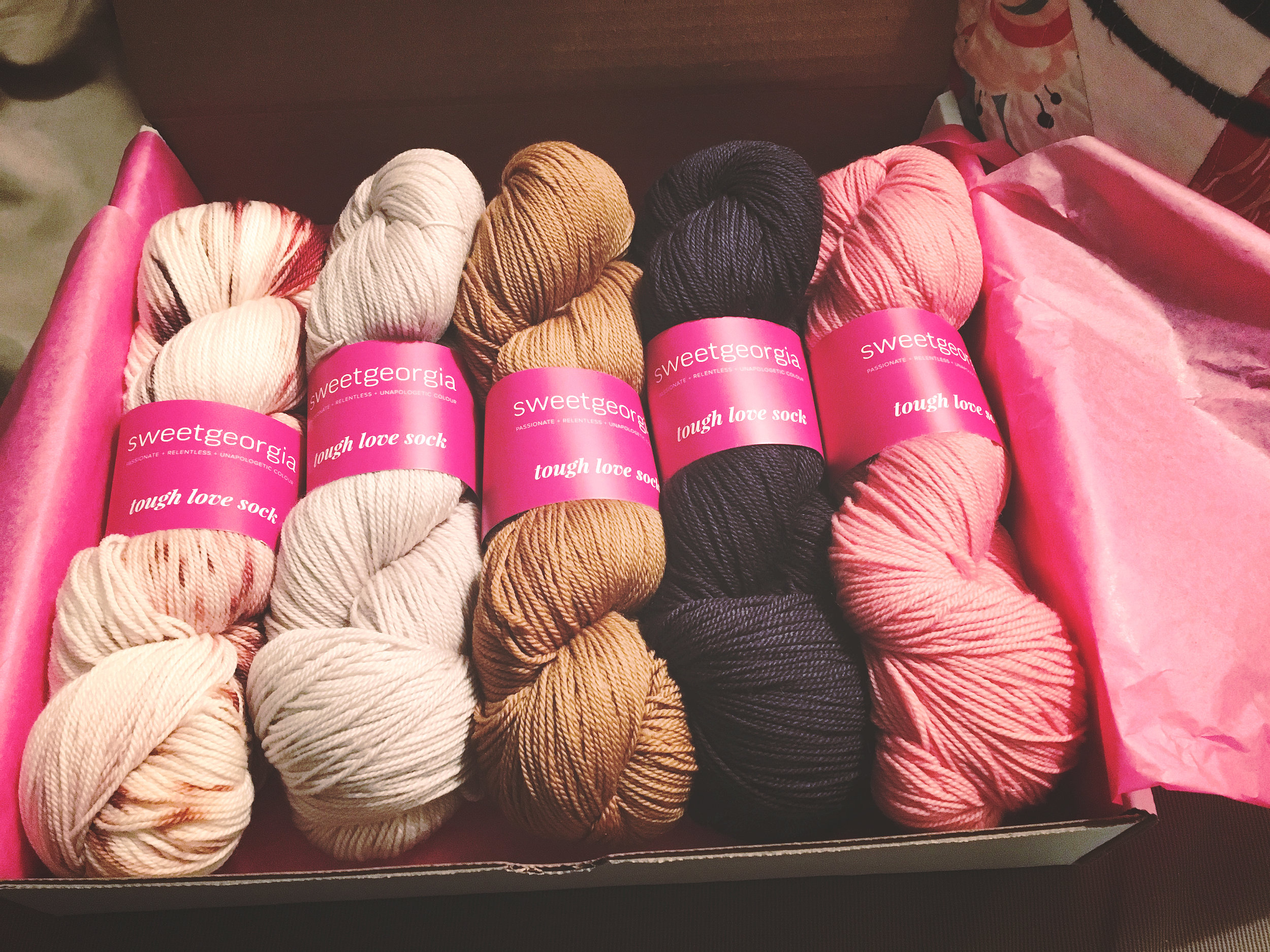 Here are the yarns all nicely boxed up....