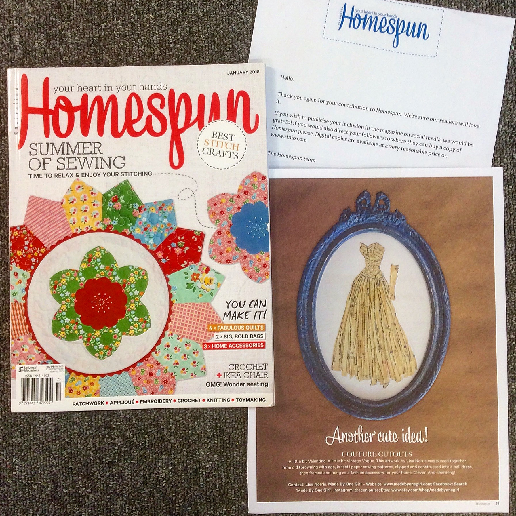 My framed collage featured in Homespun magazine