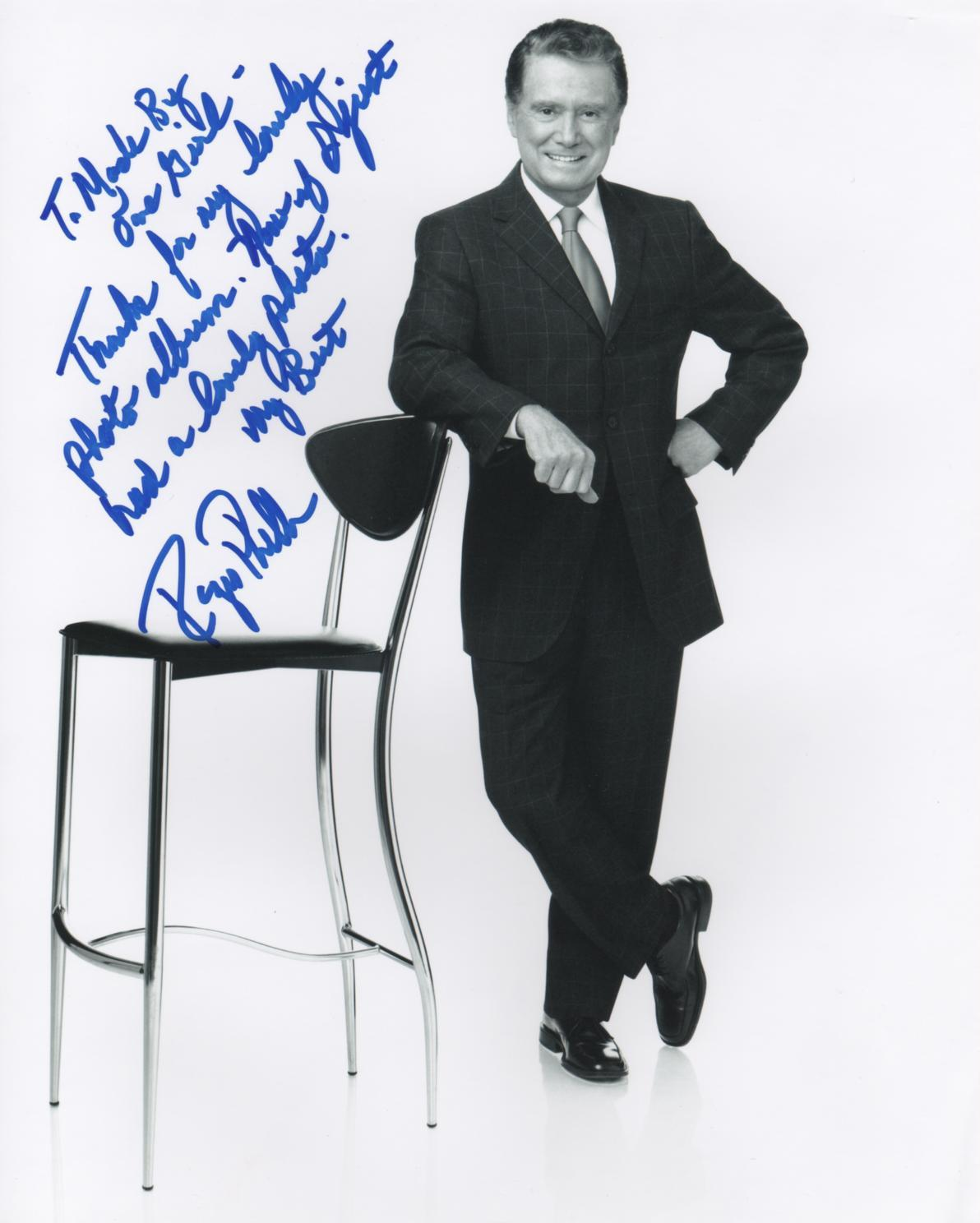 personal note from Regis Philbin after the pre-Oscar party gift baskets where he received one of my hand made scrapbooks!