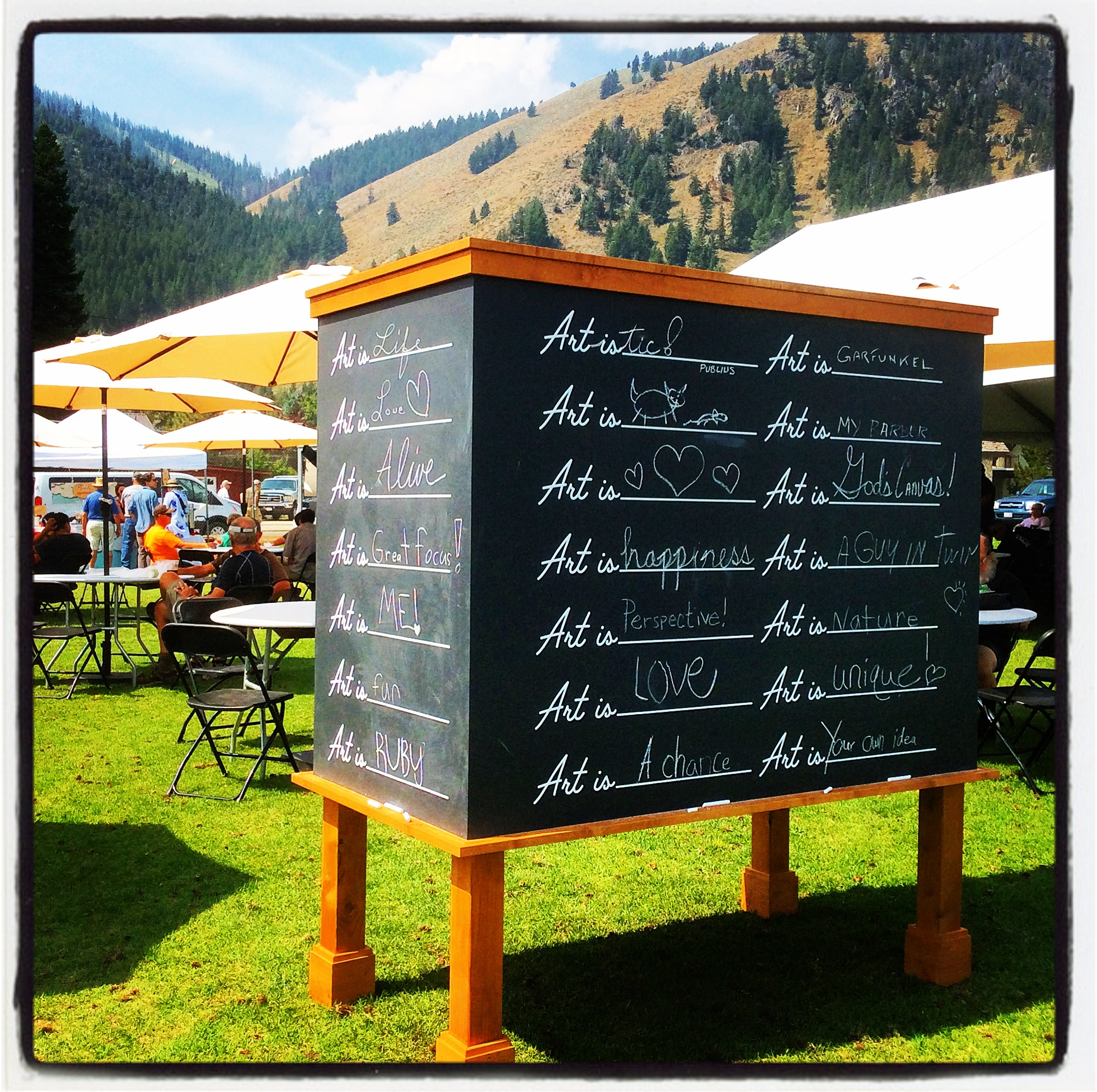Sun Valley Idaho - patrons were encouraged to fill in the blank!