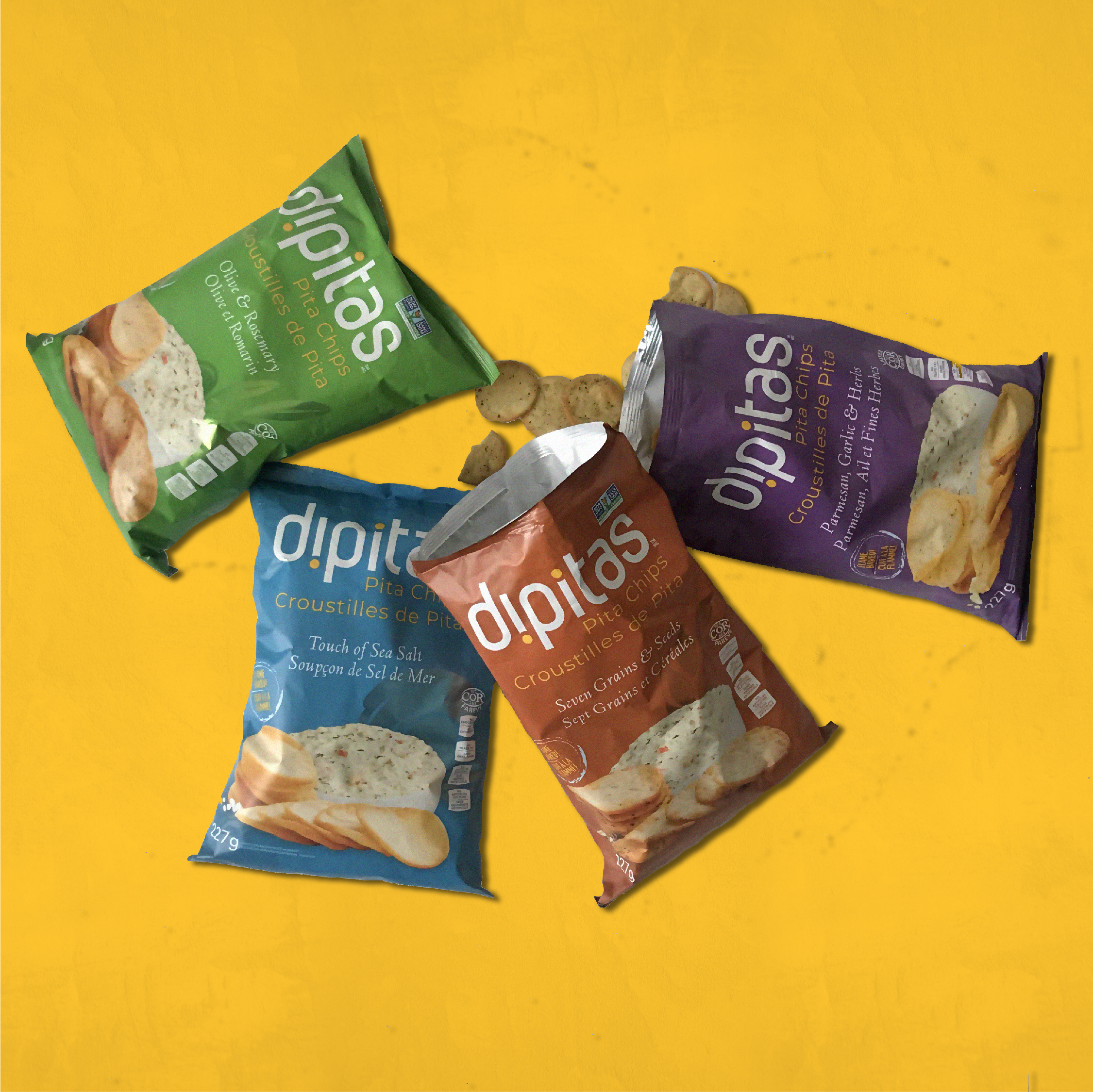 Packaging work for Dipitas, a baked snack company