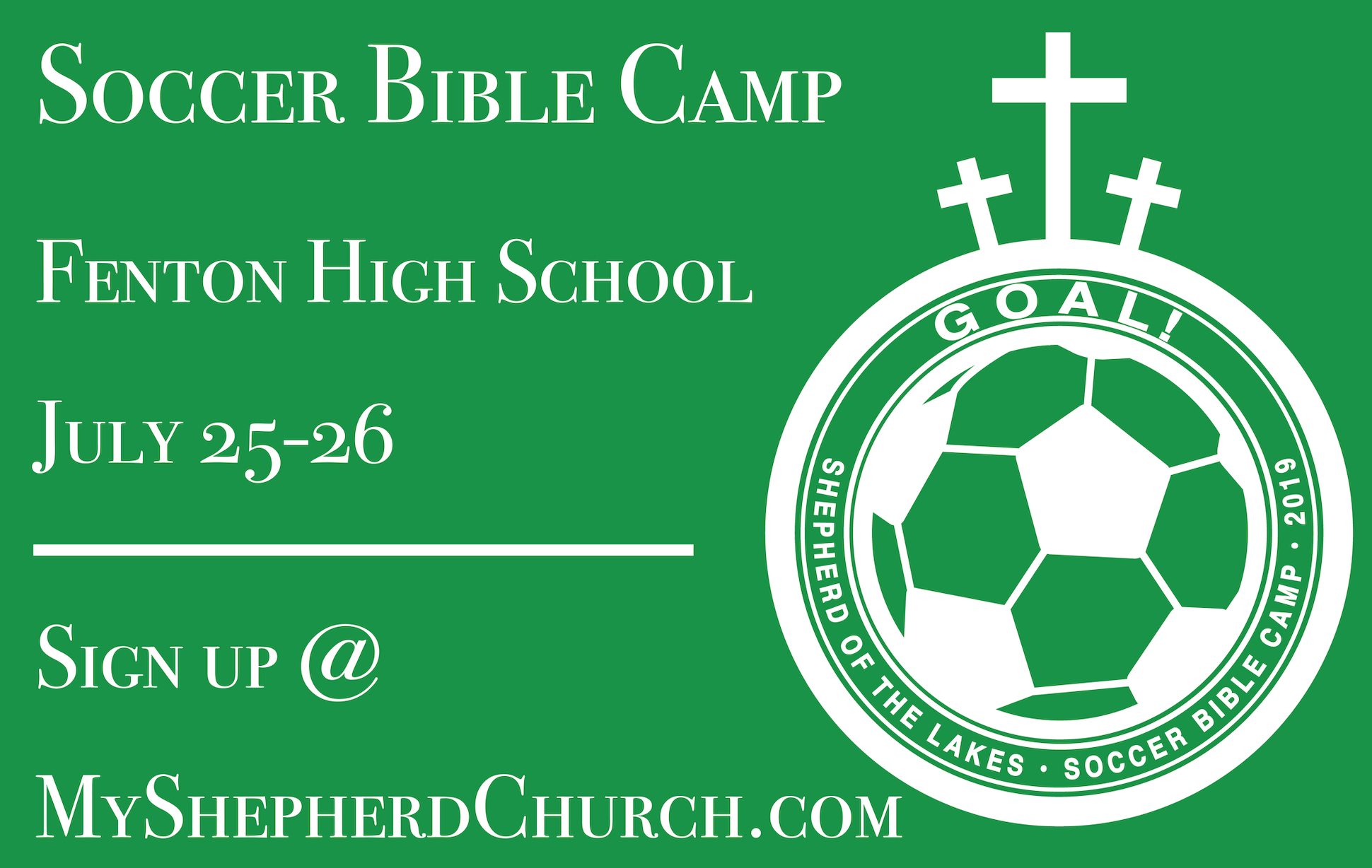 Who: Kids ages 4-10  Where: Fenton High School Varsity Field (corner of Shiawassee & Donaldson)  When: Thursday-Friday, July 25-26th, 9:30-11:30am (arrive/sign-in from 9:10-9:30)  Cost: Free! And each camper will receive a camp t-shirt.  Details: This camp is ideal for exposing young children to soccer or for honing skills of kids who have already played some organized soccer. And soccer and competition are both wonderful, but each day we'll also share something even greater: that Jesus has won the goal of heaven for us. Not helped us attain it, but given the victory to us as a gift through trust in him.  Snacks and drinks will be provided both days, and campers and family/friends are invited to a picnic lunch on Friday at 11:30am!  Each camper should bring a ball (size 4 or 5) and soccer shin guards, but it's okay if they don't have them. Soccer shoes are optional.  Register above, and we'll see you on July 25th!
