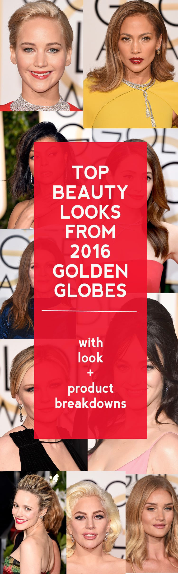 Top Beauty Looks from the 2016 Golden Globes with all of the hair and makeup details!