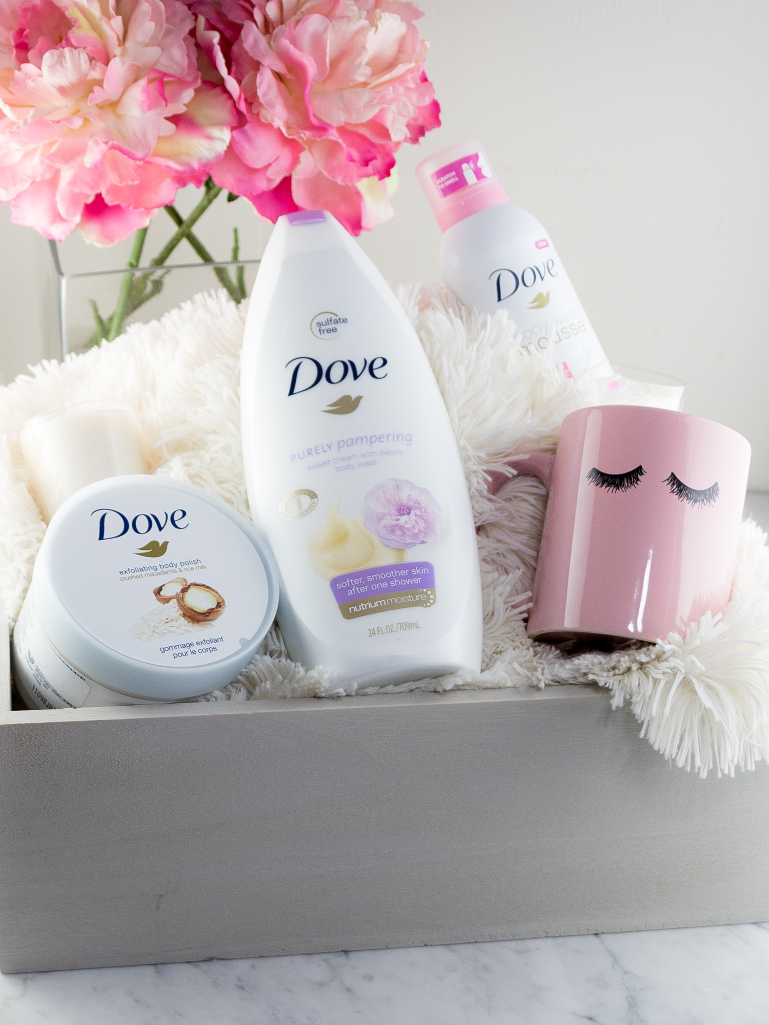 Mother's Day Pampering Gift Basket with Dove Bath and Body Products