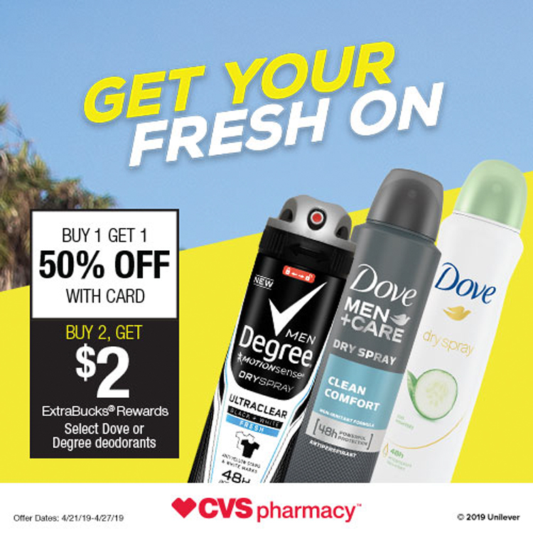 CVS DEAL - Offer Dates: 4/21/19-4/27/19 on Select Dove or Degree deodorant products.Buy One Get One 50% OFF + Buy 2 Get 2 ExtraBucks® Rewards WITH CARD
