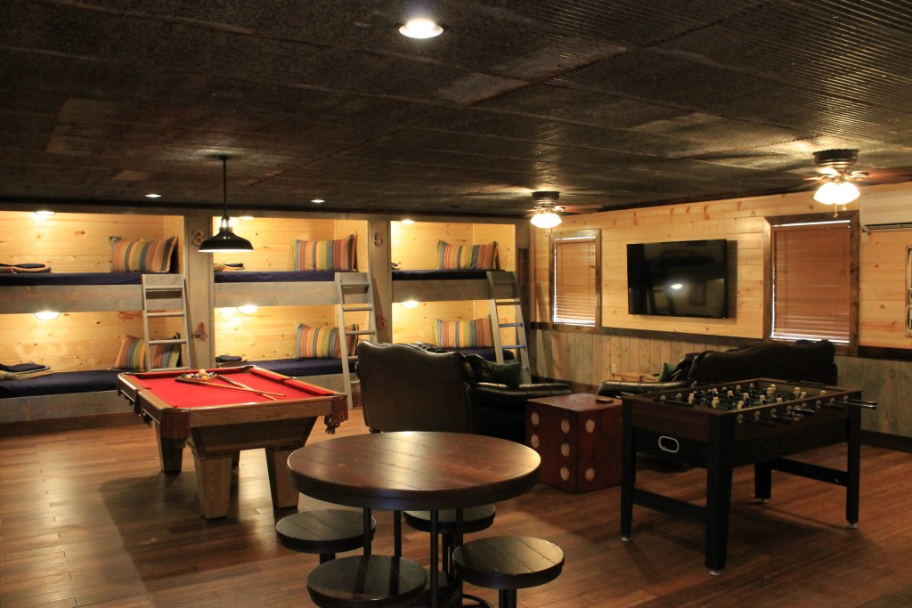 Game Room with pool table,foosball table, tv