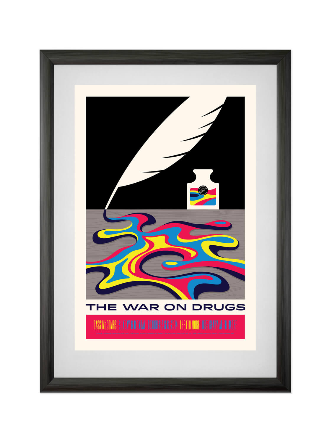 THE WAR ON DRUGS • FILLMORE SF • 9/5-6/2014  Poster for Philadelphia indie rock band The War On Drugs. Buy now.