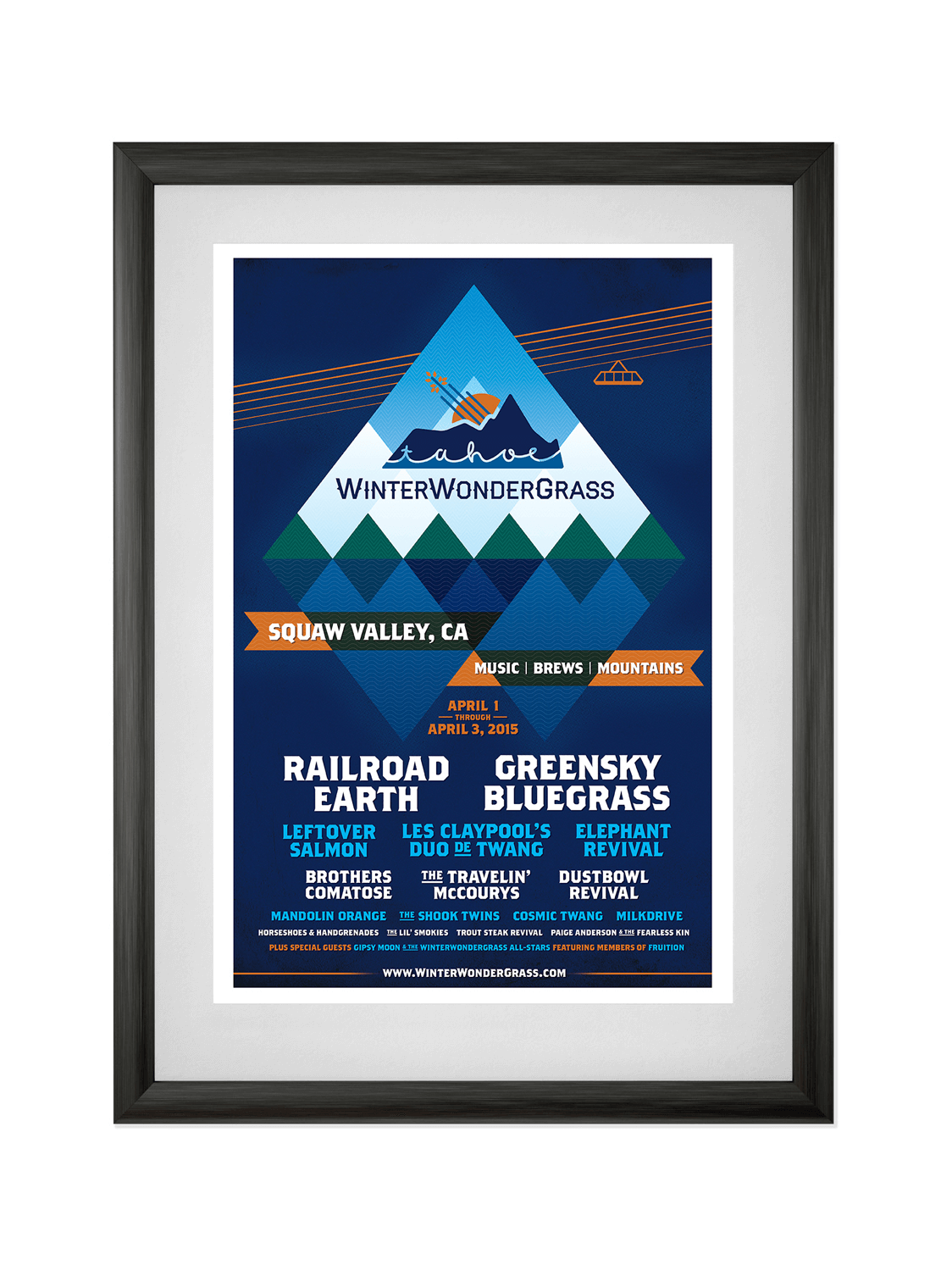 WINTER WONDERGRASS • SQUAW VALLEY 2016  Poster for a winter music festival in Squaw Valley, CA, featuring bluegrass and craft beer. Learn more.