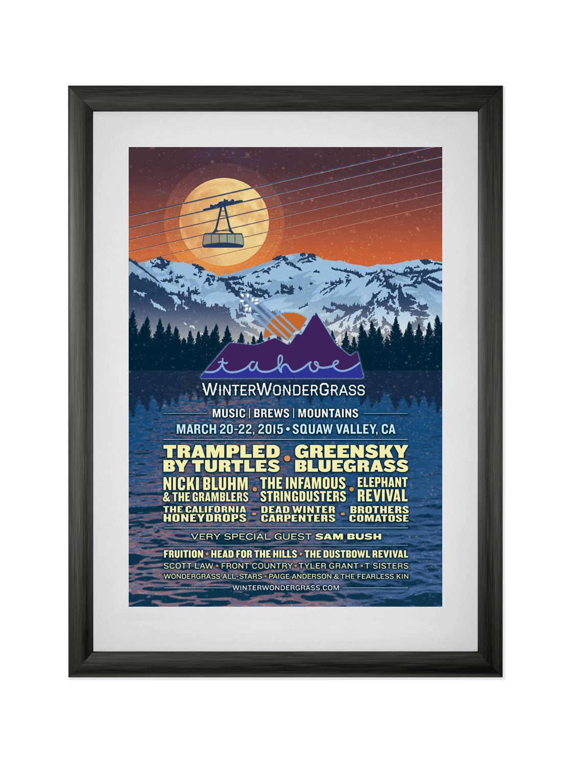 WINTER WONDERGRASS • SQUAW VALLEY 2015  Poster for a winter music festival in Squaw Valley, CA, featuring bluegrass and craft beer. Learn more.